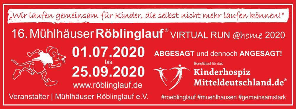 16. Mühlhäuser Röblinglauf VIRTUAL RUN @home2020